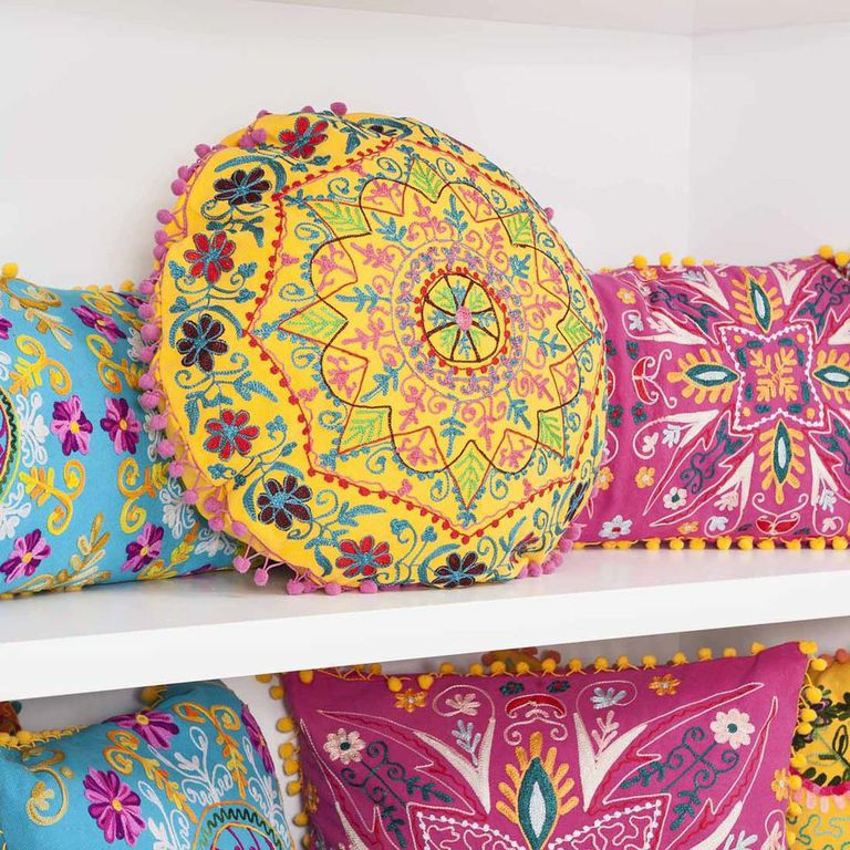 Indian Summer Embroidery Amp Pompom Cushions Cult