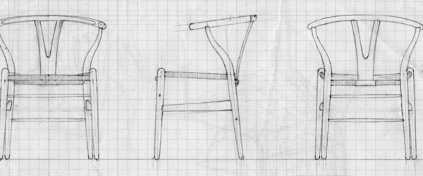 Old sketches of the y chair by hans j wegner pr photo