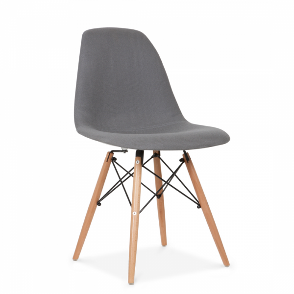 Eames style grey dsw chair upholstered dining chairs for Chair design elements