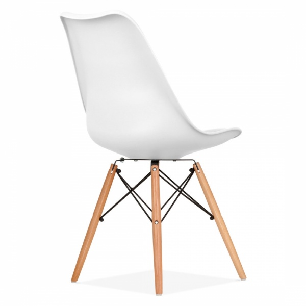 White soft pad dining chair with dsw style wood legs cult uk - Chaise blanche et bois ...
