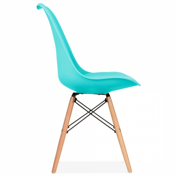 Eames inspired turquoise chair with dsw style wood legs - Chaise pied en bois ...