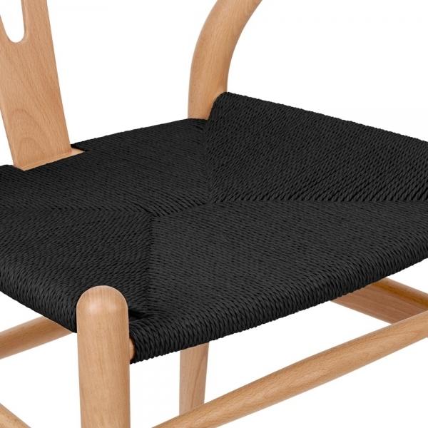 Hans wegner style natural wood wishbone chair with black for Danish design furniture replica uk