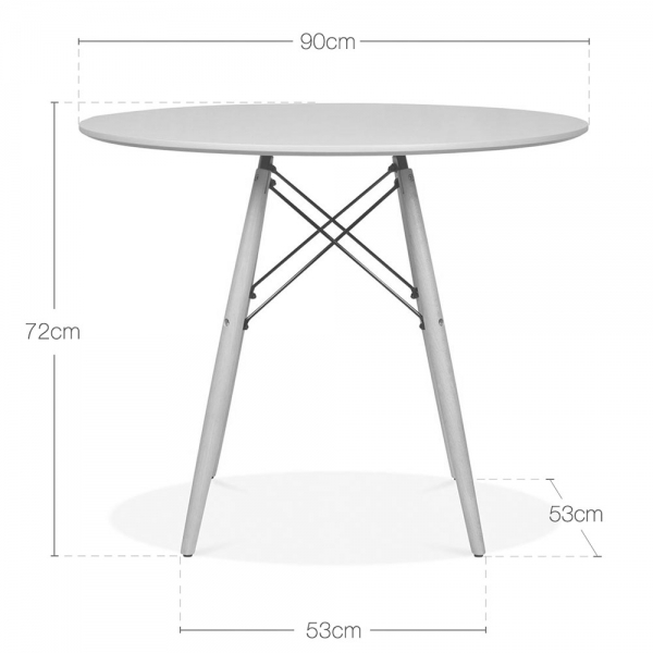 Eames dsw white table with wooden legs 90 cm dining - Table ronde 90 cm ...