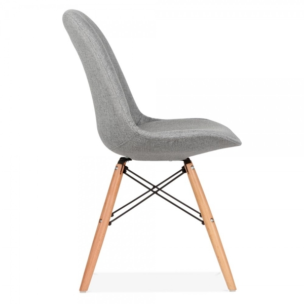 Eames inspired cool grey upholstered dining chair with dsw for Chaise eames dsw style patchwork