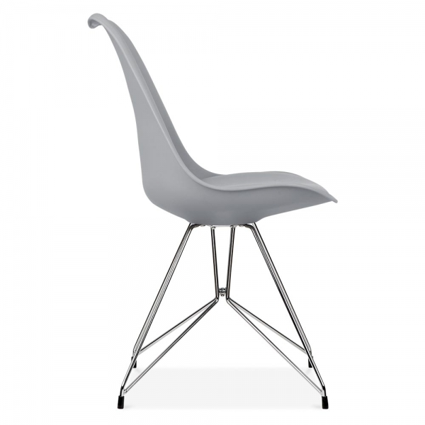 Eames inspired cool grey dining chair with geometric legs for Pietement eames