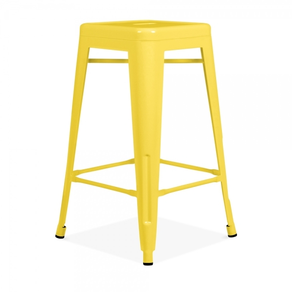 Yellow Powder Coated 65cm Tolix Style Stool Cult Furniture