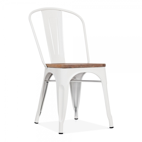 White side chair with elm wood seat cult furniture for Chaise de jardin blanche