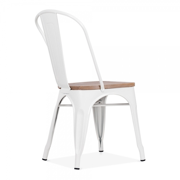 White Side Chair with Elm Wood Seat Cult Furniture # Chaise Blanche Bois
