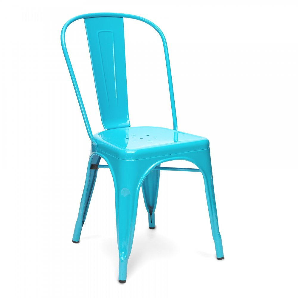 Sky blue powder coated tolix style industrial side chair for Chaise tolix