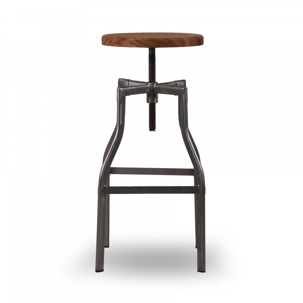 Industrial Machinist Stool Swivel With Wood Seat
