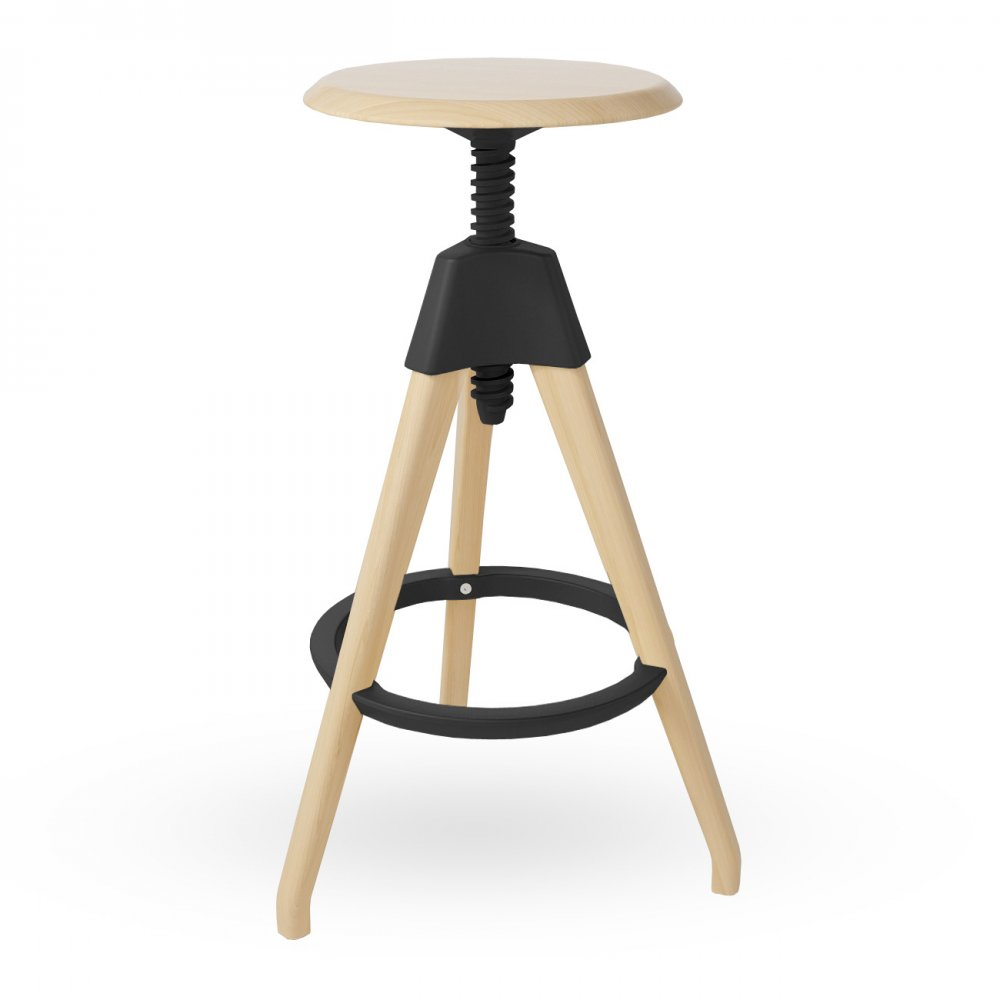 Black Wood Tall Adjustable Stool