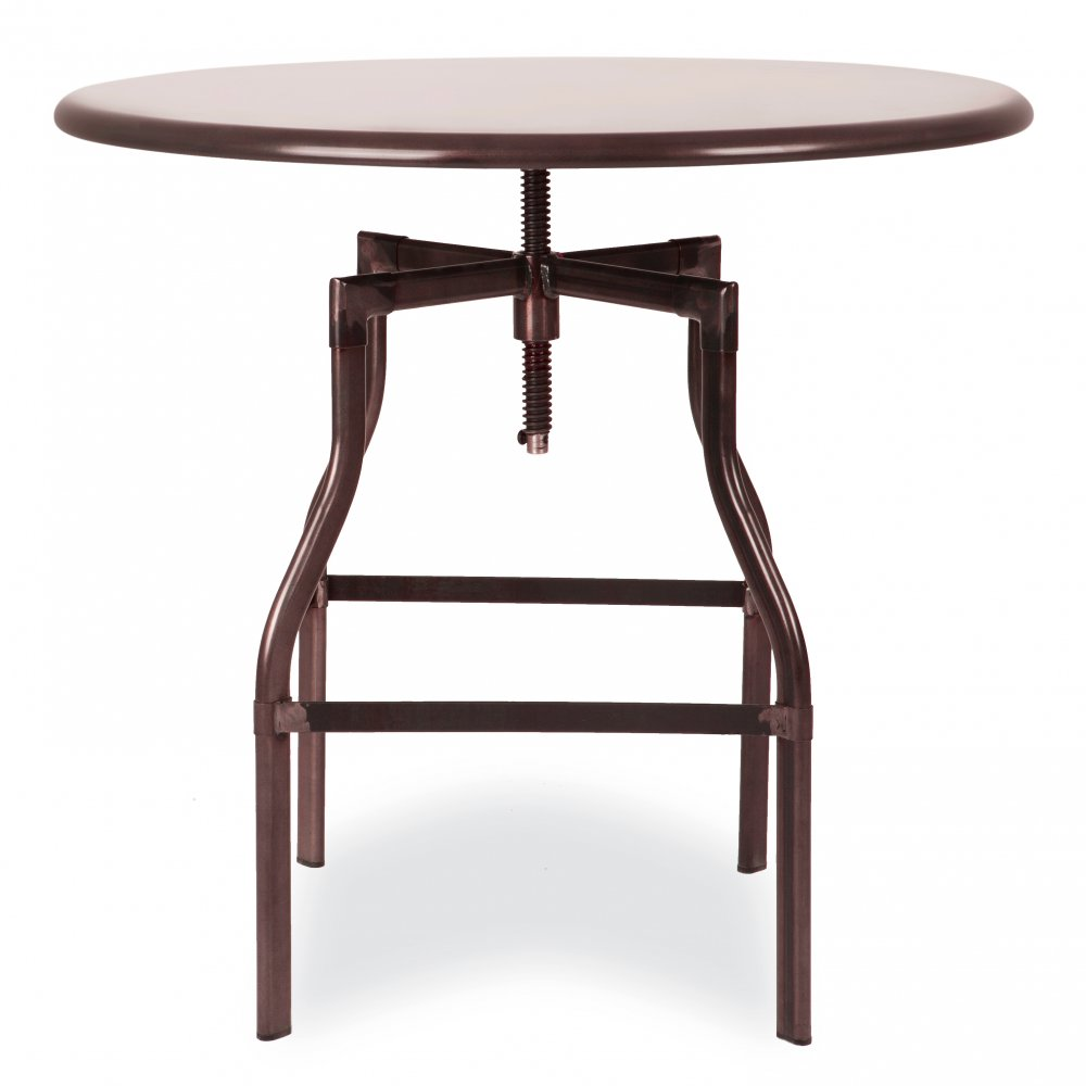 Red Copper Adjustable Height Round Swivel Table