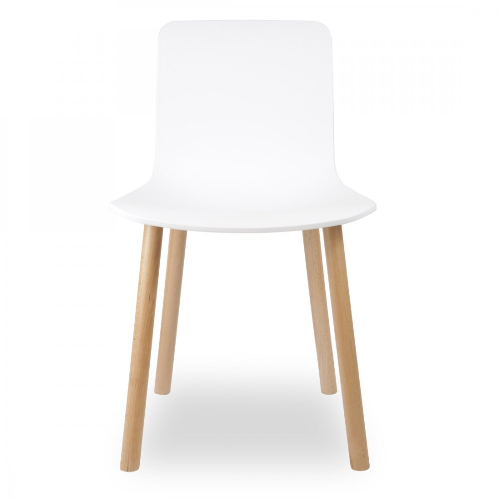 Eames style white dining chair cult uk for Chaise haute style eames