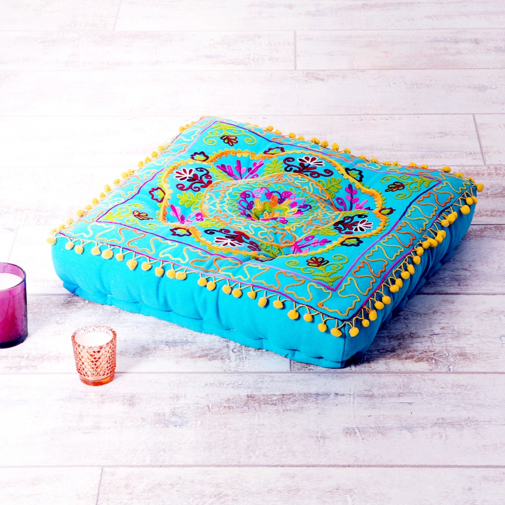 embroidered suzani turquoise square floor cushion