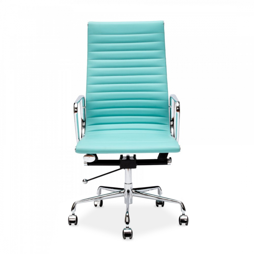 Turquoise Eames Style Ribbed Office Chair