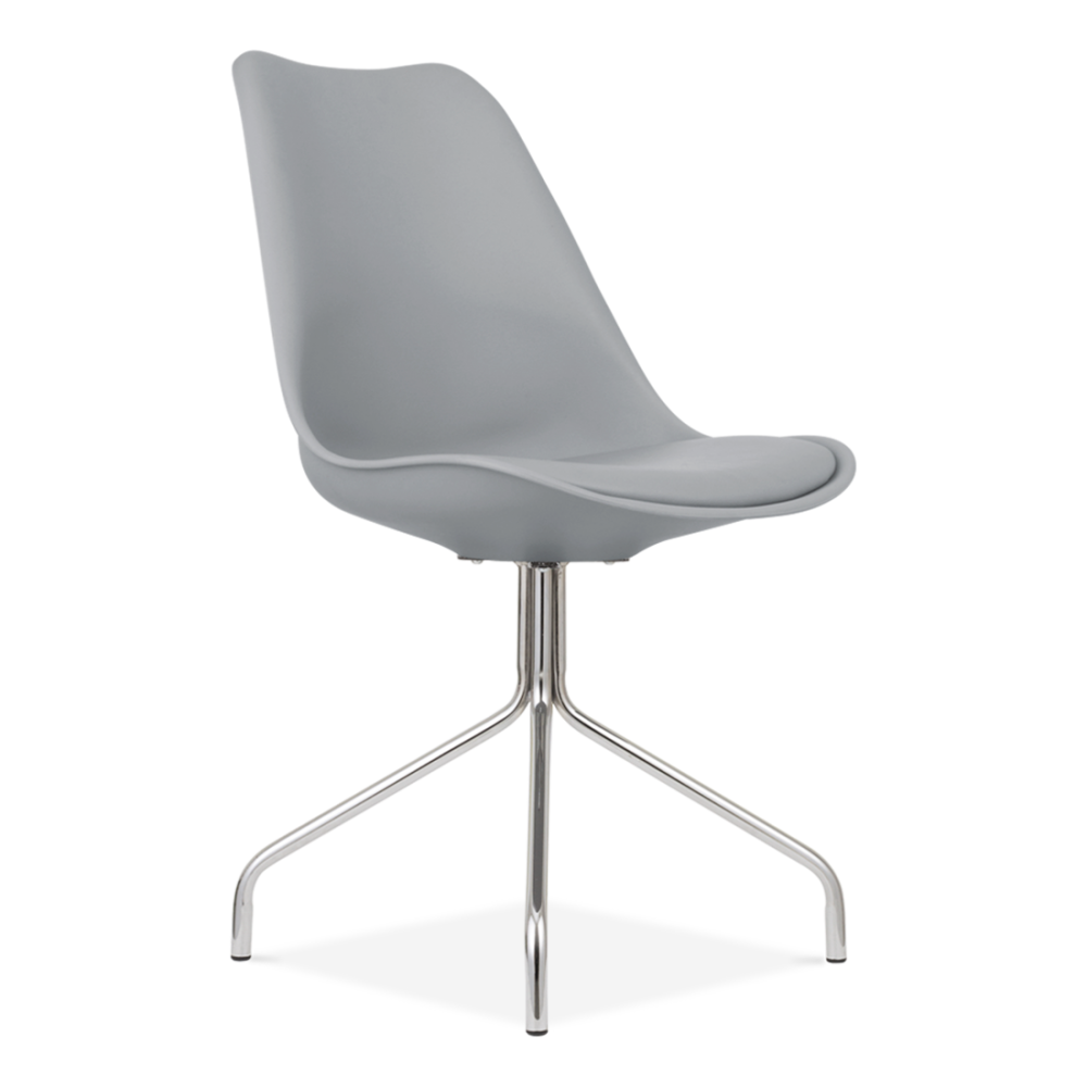 Dining Chair With Metal Cross Legs Cool Grey Restaurant