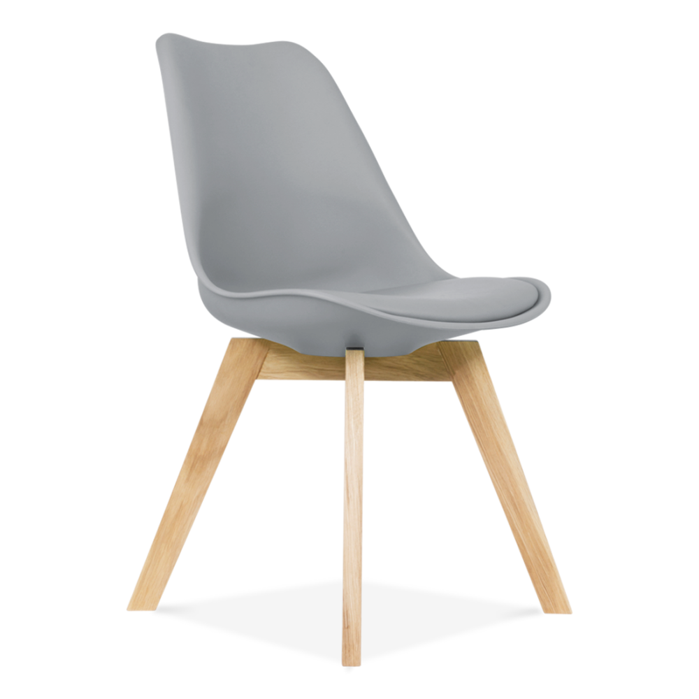 Cool Grey Dining Chair With Solid Oak Crossed Wood Legs