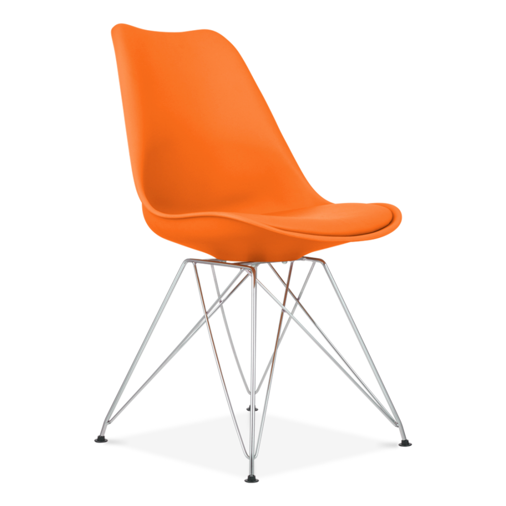 Orange dining chair with eiffel metal legs modern chairs for Chaise blanche et grise