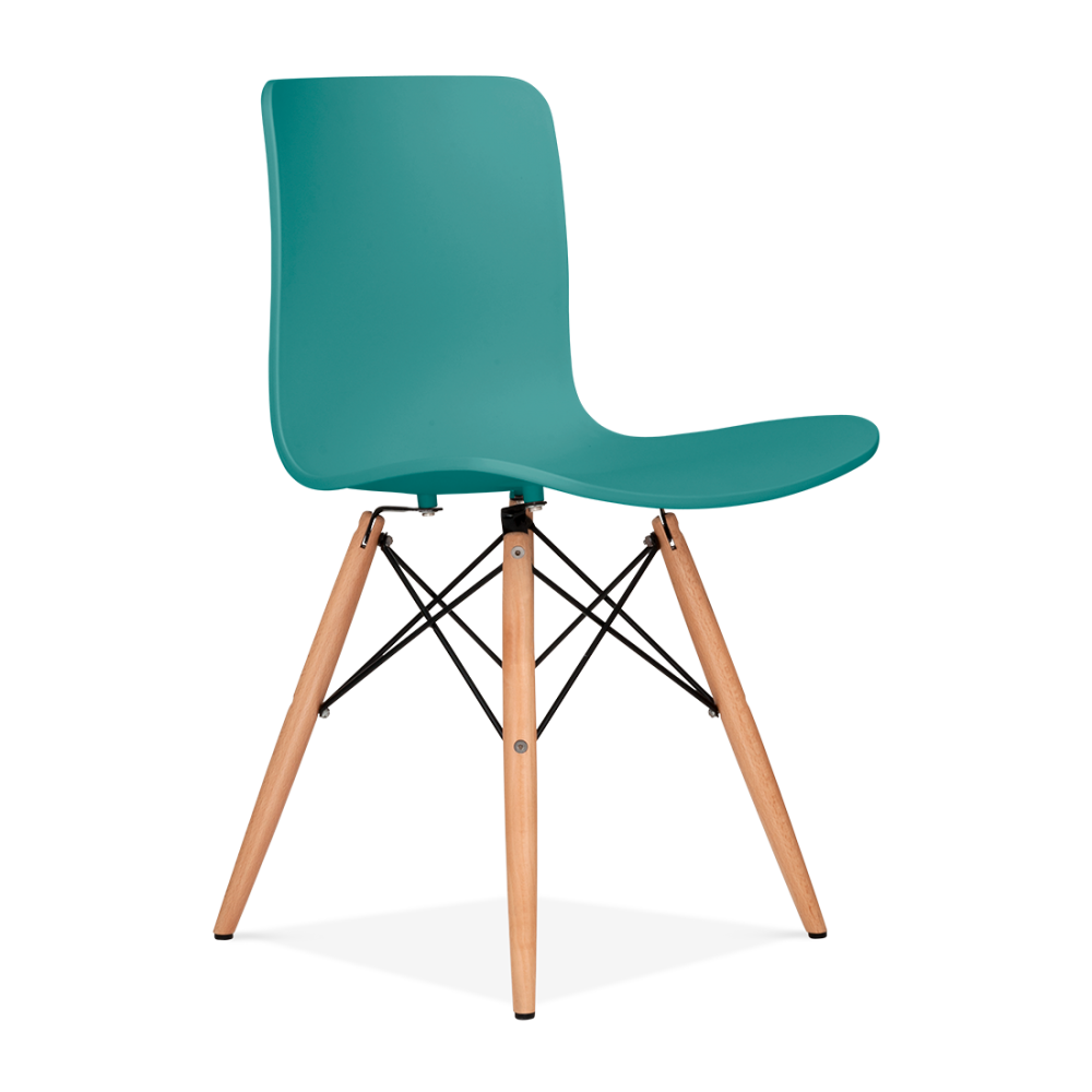 berlin teal eames inspired dining chair with dsw wood legs. Black Bedroom Furniture Sets. Home Design Ideas