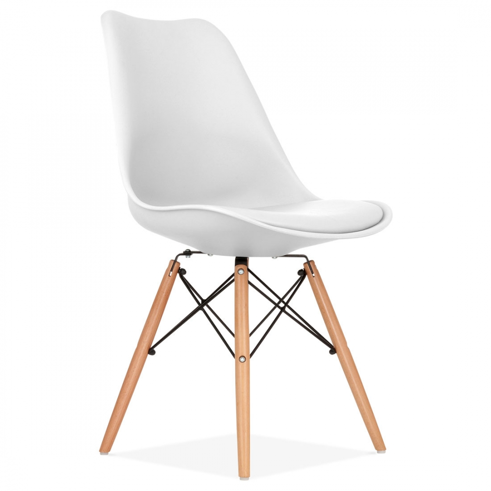 Chaise Pied Bois Assise Plastique - White Soft Pad Dining Chair with DSW Style Wood Legs Cult UK