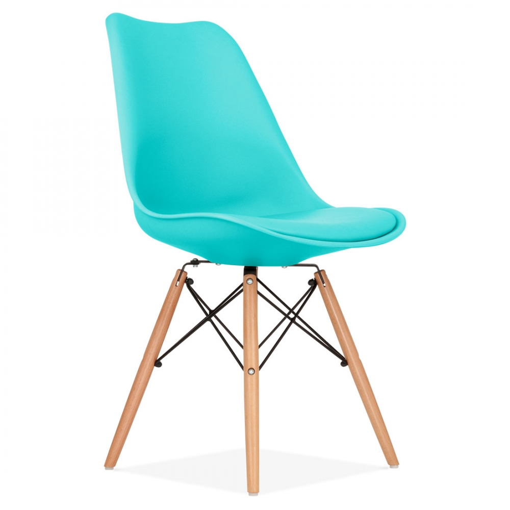 Turquoise soft pad dining chair with dsw style wood legs for Chaise fauteuil eames