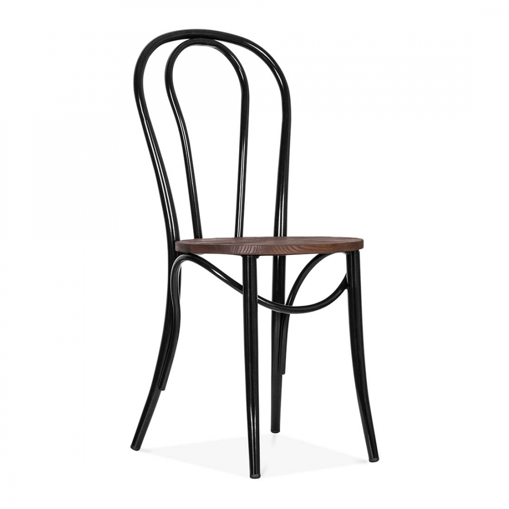Black Thonet Style Bistro Chair With Wood Seat Caf