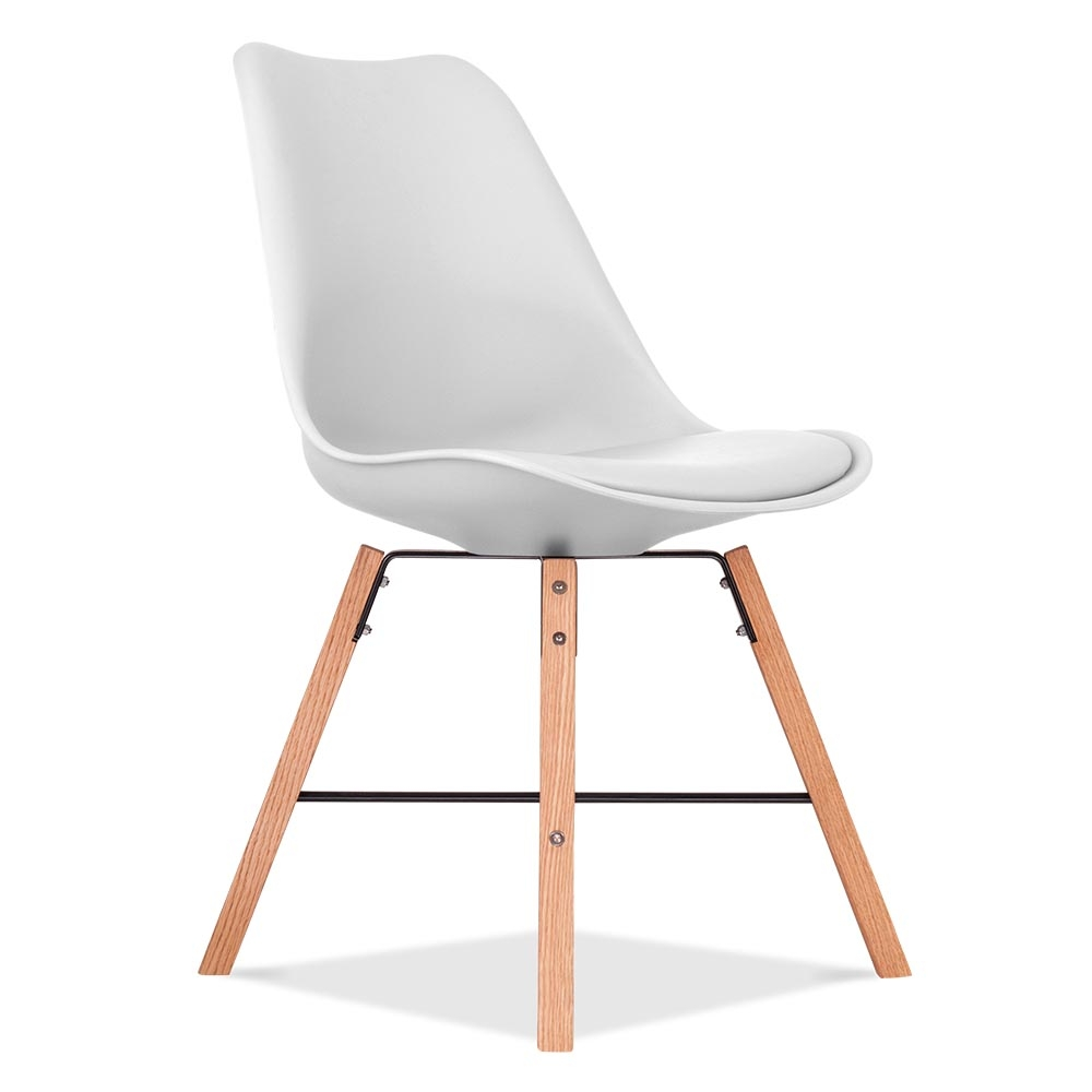 eames inspired soft pad chair in white with cross brace. Black Bedroom Furniture Sets. Home Design Ideas