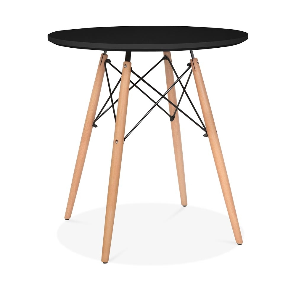 Black eames style small dsw round table black 70cm for Small black dining table