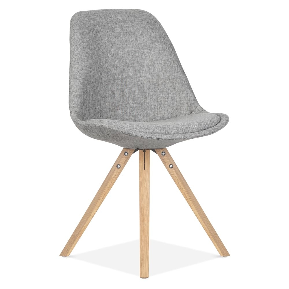 Eames inspired pyramid upholstered dining chair in cool for Chaise blanche et bois