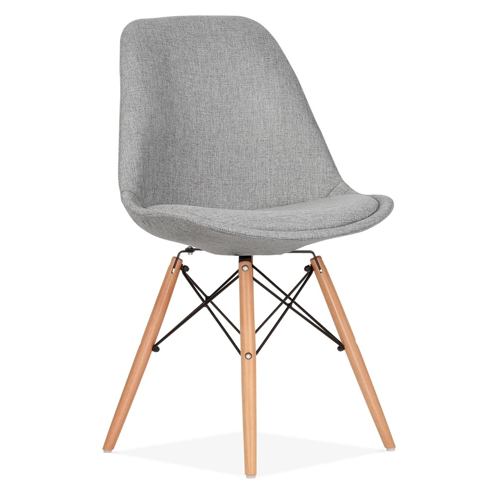 Eames inspired cool grey upholstered dining chair with dsw for Chaise 3 pieds