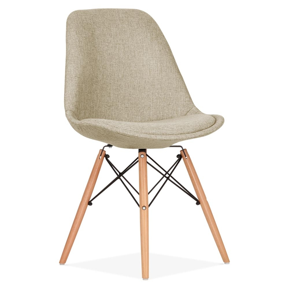 Eames inspired beige upholstered dining chair with dsw for Upholstered dining chairs with black legs