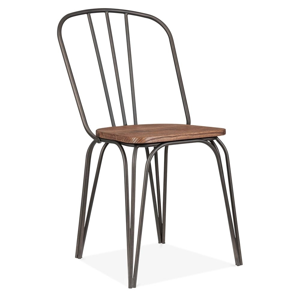 Cult living loretta dining chair in gunmetal with wood for Chaises salle a manger grises