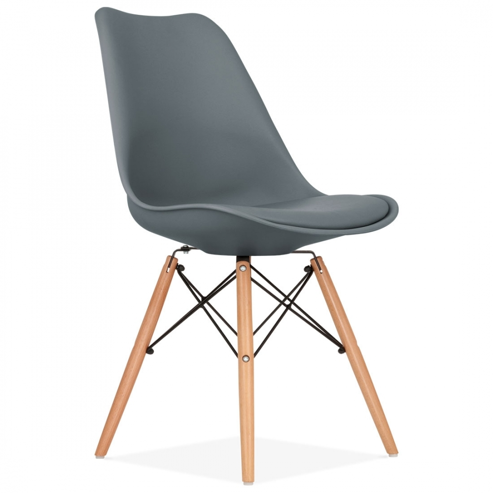Grey soft pad dining chair with dsw style wood legs for Salle a manger avec chaise