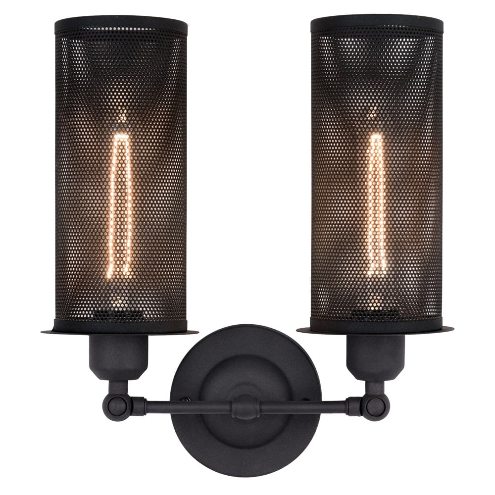 Perforated metal double sconce wall light cult uk - Douille applique murale ...
