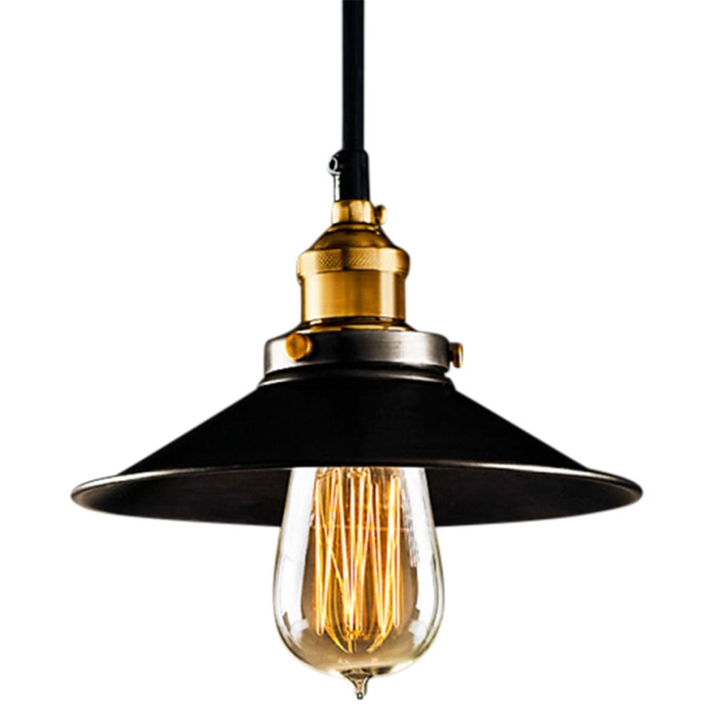 Industrial Metal Pendant Light In Black Lamps