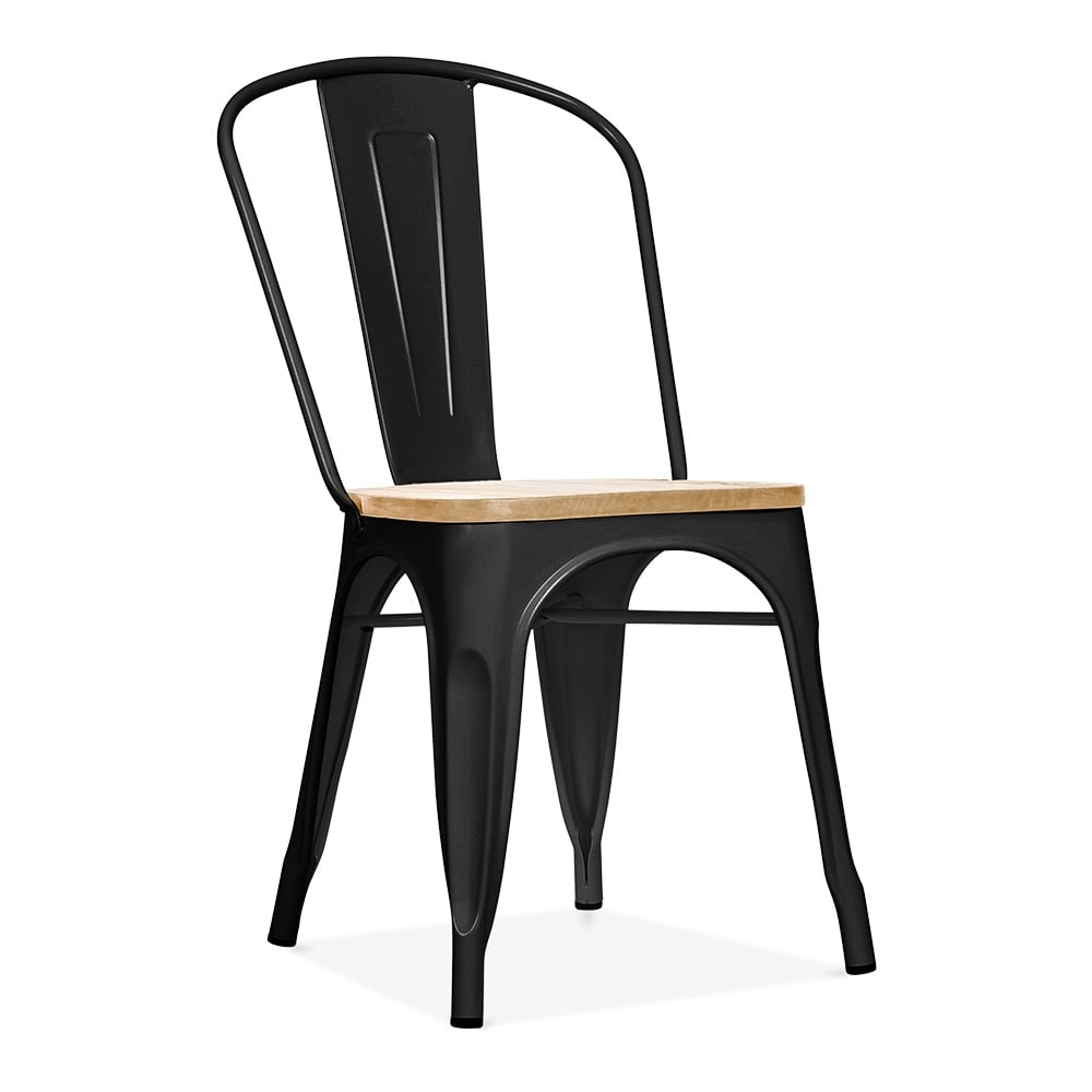xavier pauchard style black side chair with natural elm. Black Bedroom Furniture Sets. Home Design Ideas
