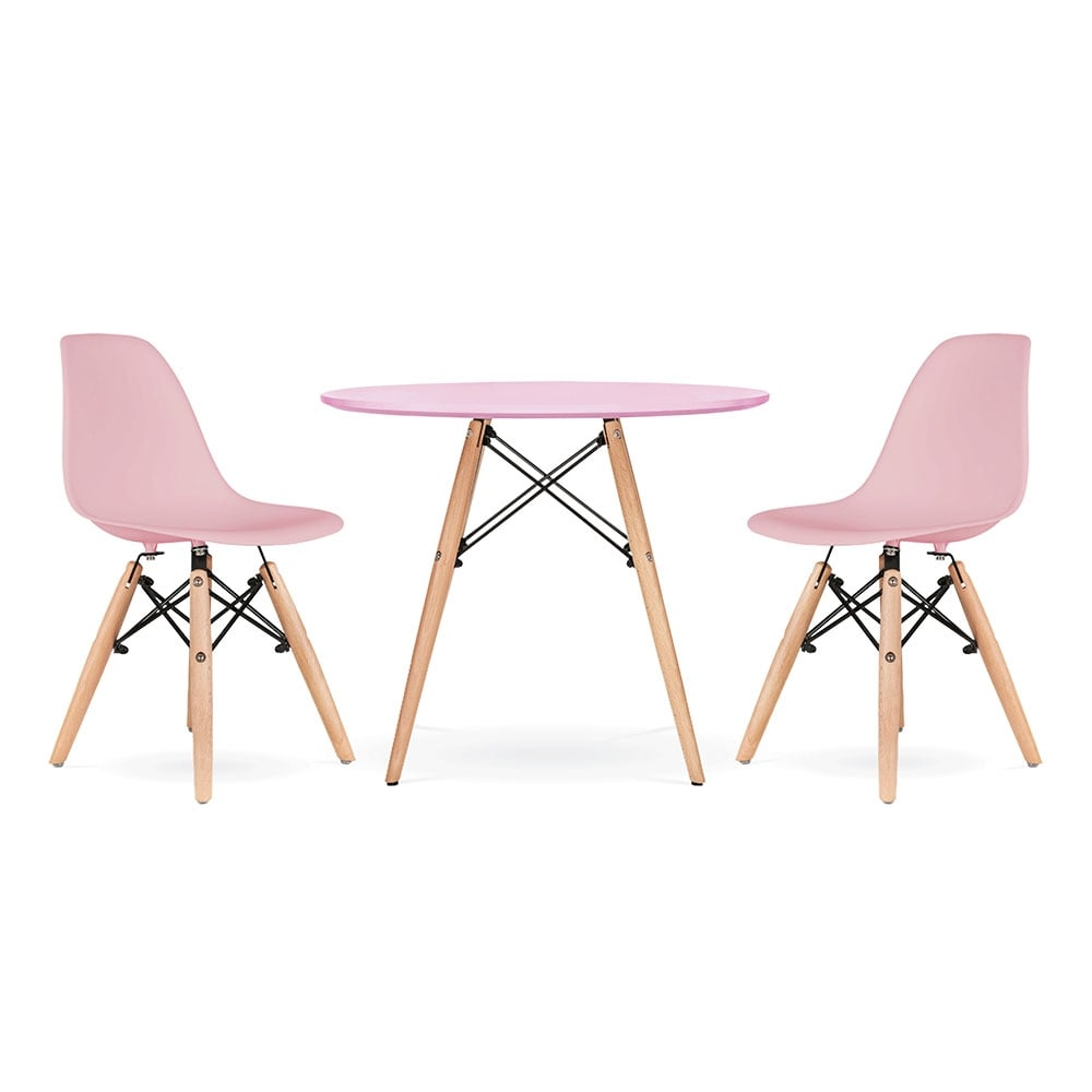 Cult living dsw kids pastel pink dining set cult for Chaises blanches bois