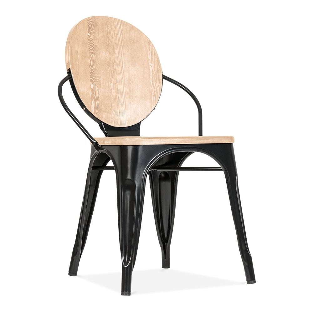Cult living black louis dining chair with wood seat option for Chaise salle a manger bois