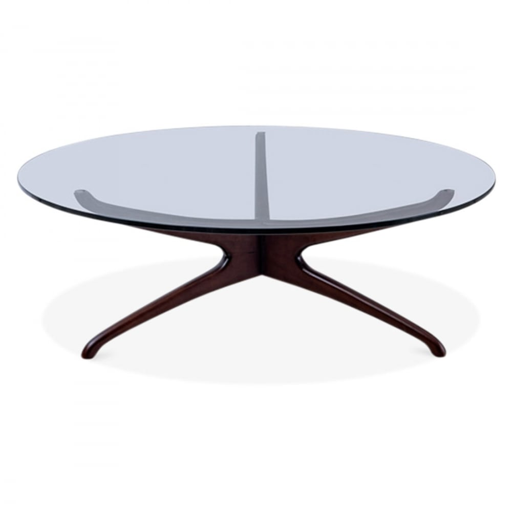 Dark Brown Alberg Round Glass Coffee Table Living Room Furniture