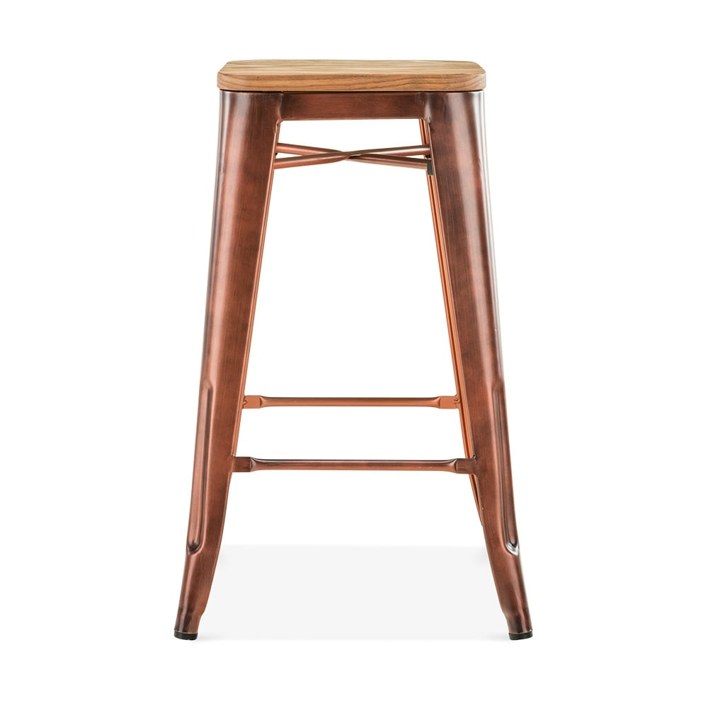 vintage copper with natural wood seat 65cm tolix style stool cult uk. Black Bedroom Furniture Sets. Home Design Ideas
