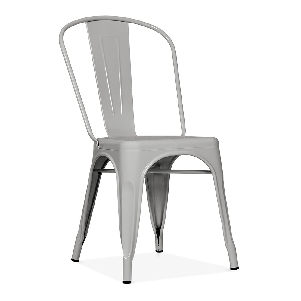 Pauchard Tolix Style Metal Side Chair Matte Cool Grey
