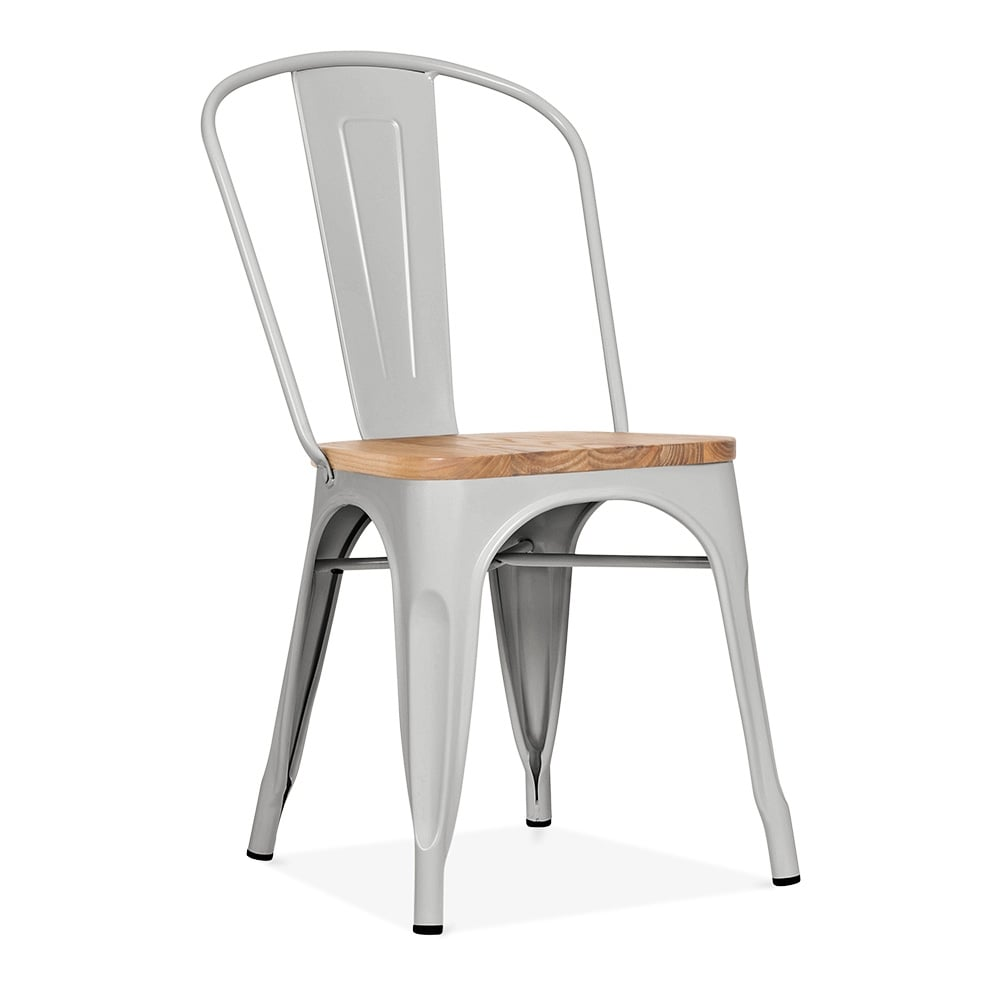Xavier Pauchard Style Matte Cool Grey Chair With Wood Seat