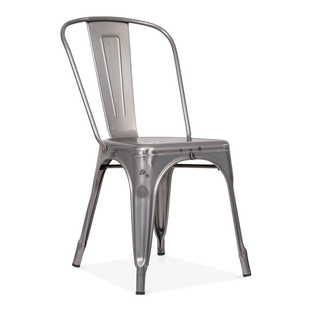 Raw industrial gunmetal side chair with weld spots cult uk for Chaise tolix