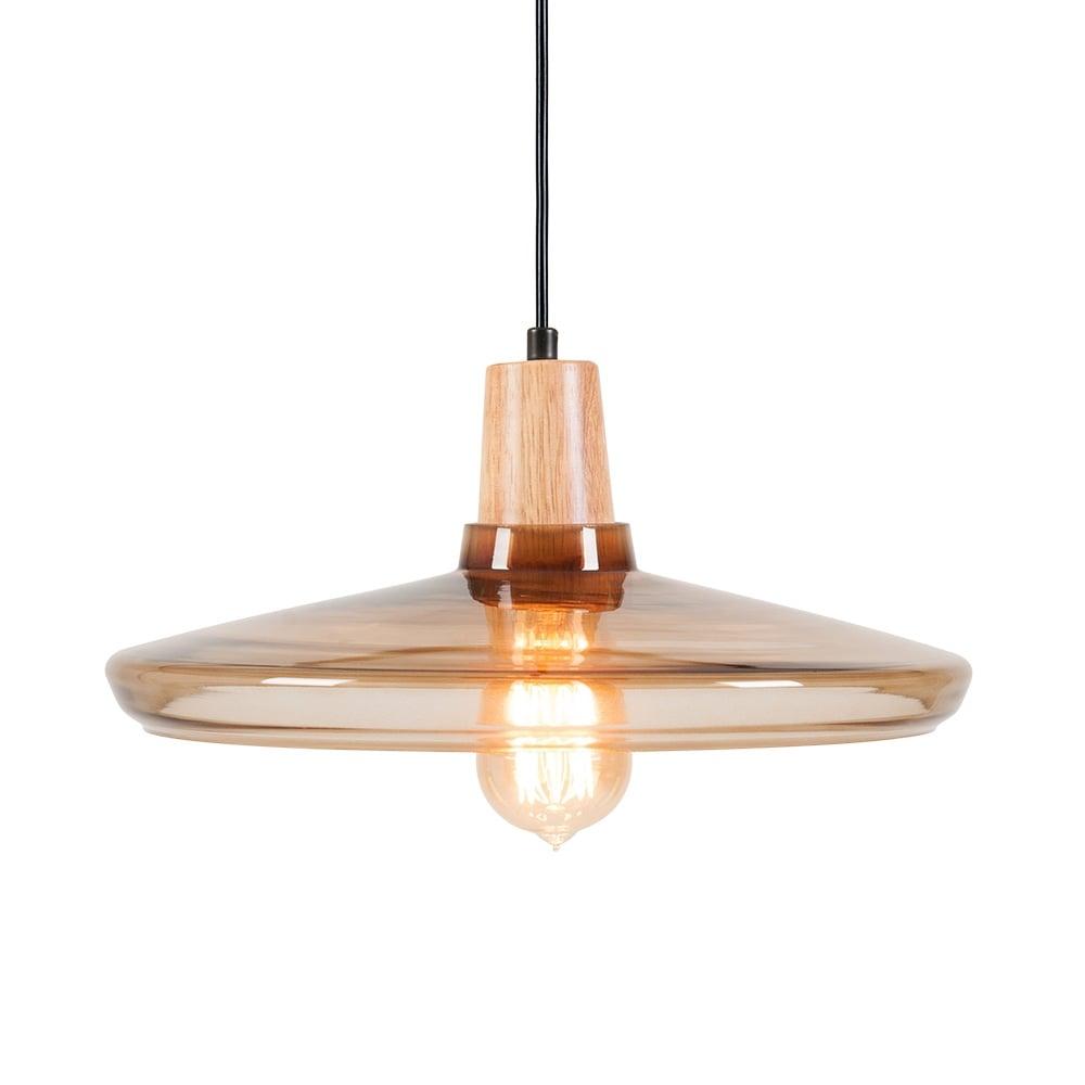 Coffee Aalborg Round Wood & Glass Pendant Light