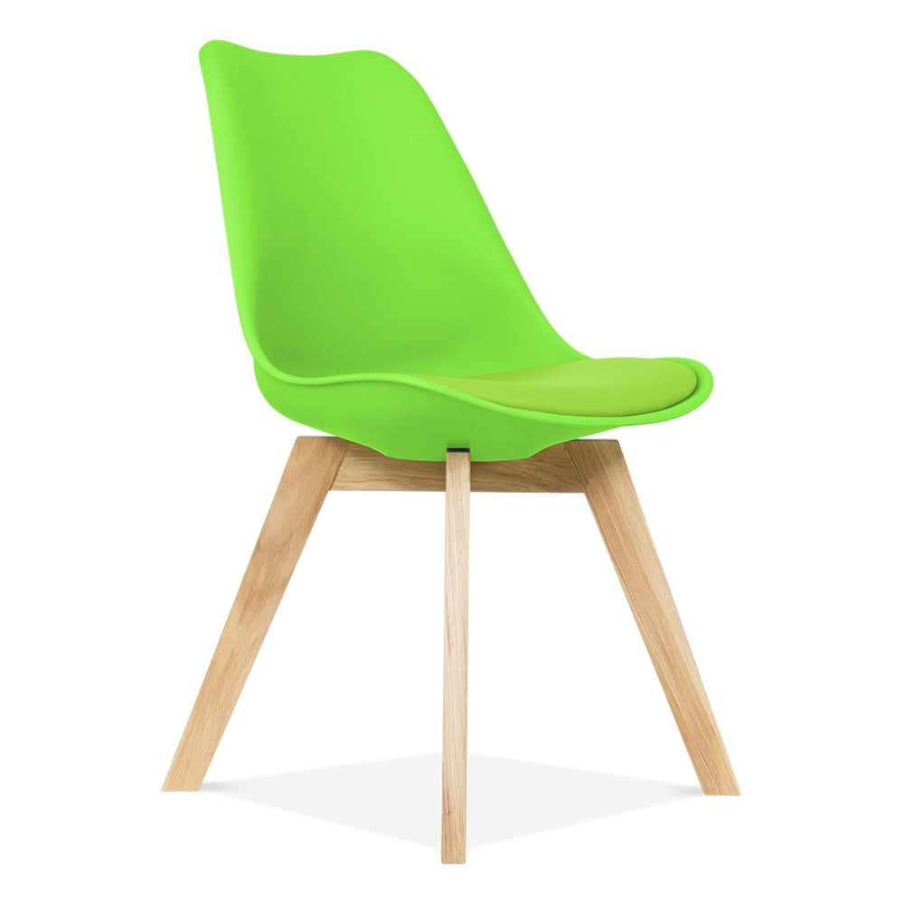 Dining Chair In Green With Solid Oak Crossed Wood Legs