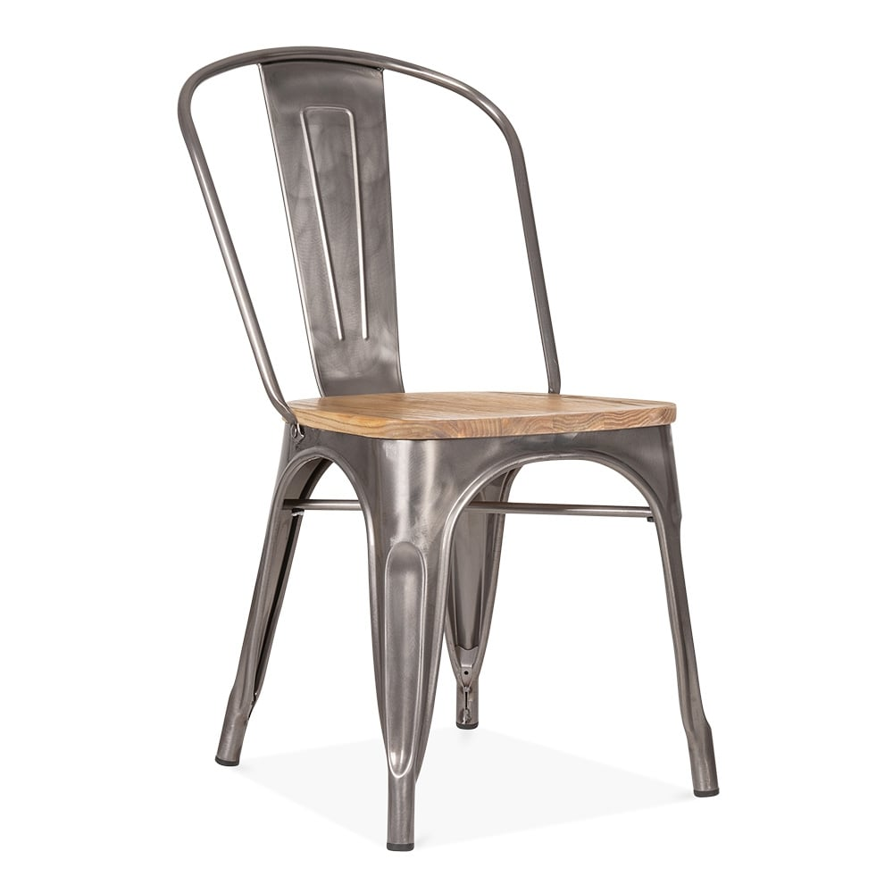 Gunmetal side chair with elm wood seat cult furniture for Chaise de style