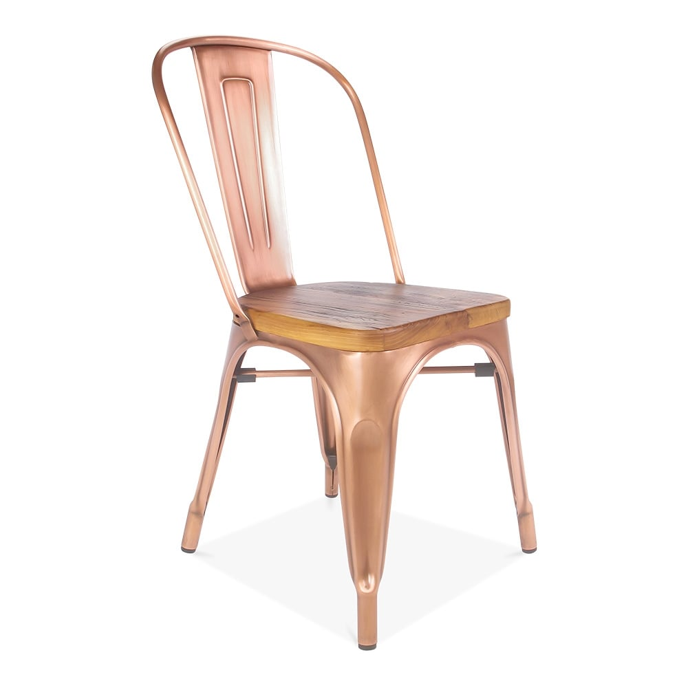 Light Copper Side Chair with Natural Wood Seat Cult Furniture UK # Chaise Tolix Assise Bois