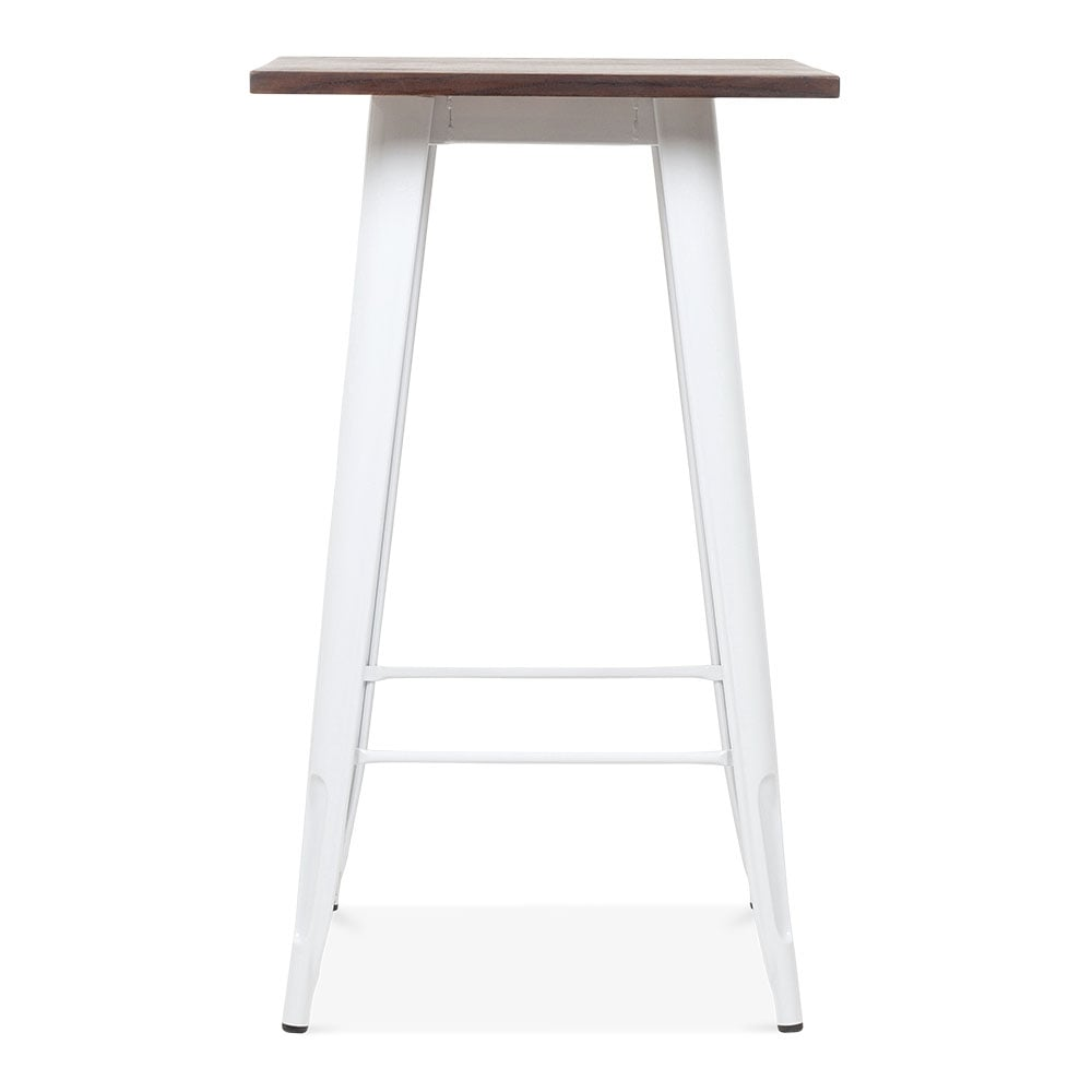 Tolix style metal bar table with wood top white 102cm for Table bois metal