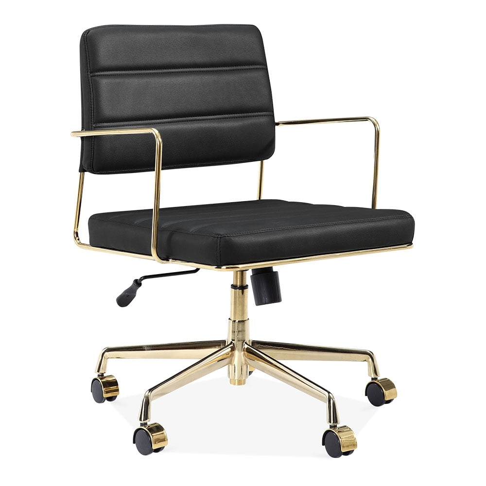Cult Living Grosvenor Padded Leather Office Chair Black Gold