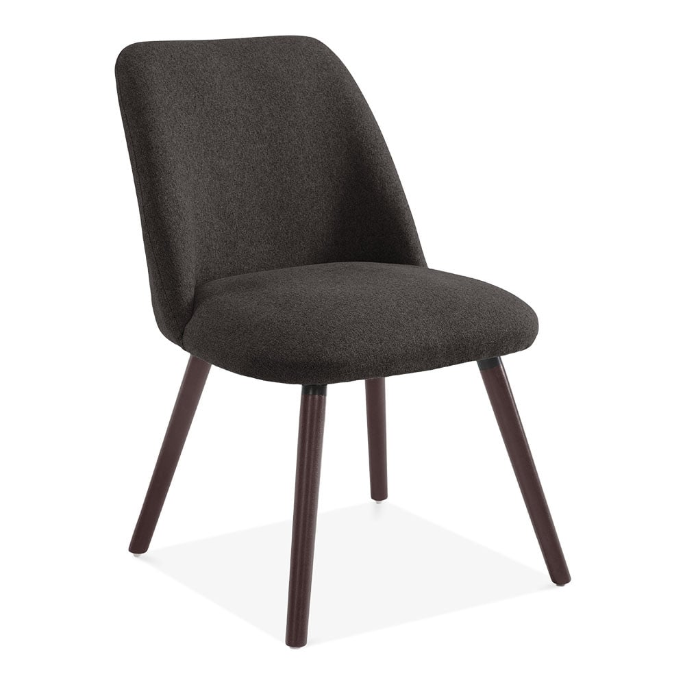 Cult Living Hanover Sleek Scandinavian Dining Chair Fabric Upholstered Dark Grey
